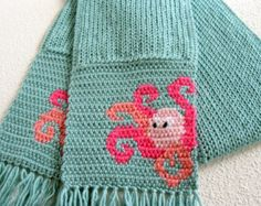 Octopus Scarf. Sea foam green knit scarf with crochet pink octopus. Sea animal scarf. Animal scarf