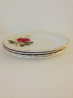 Anniversary Rose Myott Dinner Plates Set of 4 by vintagebygramma