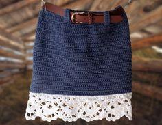 """Crochet Denim Skirt , """" Jeans """" Skirt , Skirt with Lace edging , Toddler skirt , Crochet Pattern Source by leonororozco Skirts"""