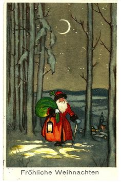 1914 German Christmas Postcard. Note the natural colours, this is what Father Christmas's looked like before Coca-Cola started their advertising campagine. He is rather nice I think ;)