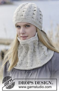 """Set consists of: Crochet DROPS hat and neck warmer with cables in """"Nepal"""". DROPS design: Pattern no ne-191 Free pattern by DROPS Design."""