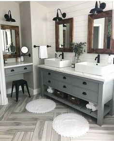 30 Perfect Farmhouse Bathroom Design Ideas And Remodel. If you are looking for Farmhouse Bathroom Design Ideas And Remodel, You come to the right place. Below are the Farmhouse Bathroom Design Ideas . Bad Inspiration, Bathroom Inspiration, Bathroom Inspo, Modern Bathroom, Cool Bathroom Ideas, Dark Wood Bathroom, Shower Bathroom, Bathroom Small, Bathroom Mirrors