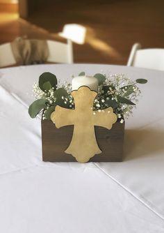 Rustic baptism centerpiece