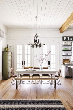 The Bad Secret of Farmhouse Living Room Joanna Gaines Magnolia Homes Decorating Ideas - apikhome Magnolia Homes, Magnolia Room, Magnolia Home Decor, Estilo Joanna Gaines, Rooms Ideas, Dining Room Lighting, Small Dining, Dining Room Design, Rustic Dining Rooms