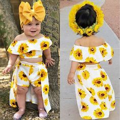 Fashion Toddler Newborn Kids Baby Girl Sunflower Off Shoulder Crop Tops Shorts Dress Headband Outfit littlewhite Baby Girl Pants, Cute Baby Girl Outfits, Dresses Kids Girl, Kids Outfits Girls, Cute Baby Clothes, Cute Outfits, Beautiful Outfits, Baby Girl Tops, Cute Kids Fashion