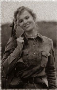 A Yugoslav partisan fighter in World War II. She fought against the Nazis under Tito. (this is one of those homage photos - she's a model: http://www.vokrug.tv/photo/person/Darya_Charusha_Simonenko/ )