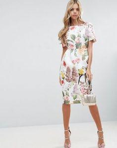 82686b59be ASOS Floral Print Wiggle midi dress at asos.com