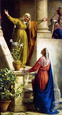 Virgin Mary Visits Cousin Elizabeth by artist C. Blessed Mother Mary, Blessed Virgin Mary, Catholic Art, Religious Art, Rosary Catholic, Catholic Saints, Greg Olsen, Poster Print, Mama Mary