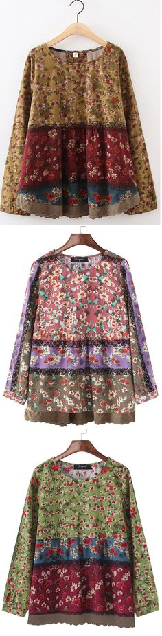 51% OFF! US$19.89 Plus Size O-NEWE Vintage Floral Printed Patchwork Shirt For Women. Shop Now!