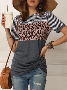 Free Disposable Face Masks will be send with each order. RINTONIX Women's Striped Loose Summer T Shirt Short Sleeve Leopard Print Baggy T Shirt Blouses Winter T Shirts, Leopard Print Shorts, Leopard Blouse, Leopard Top, Latest Fashion For Women, Womens Fashion, Baggy Tops, Trend Fashion, N21