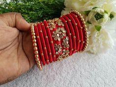 Chuda Bangles, Kundan Bangles, Silk Bangles, Bridal Bangles, Silk Thread Bangles Design, Thread Jewellery, Beaded Necklace Patterns, Jewelry Patterns, Brooch Corsage