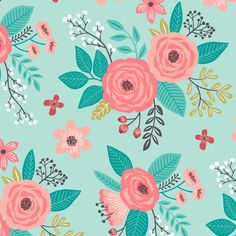 Vintage Antique Floral Flowers on Mint Green fabric by caja_design on Spoonflower - custom fabric