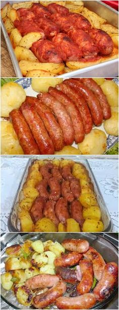 Linguica Recipes, Appetizer Recipes, Dinner Recipes, Good Food, Yummy Food, Portuguese Recipes, Ground Beef Recipes, Easy Cooking, Food Videos