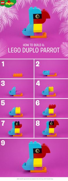 Help your child to build this colorful parrot with LEGO DUPLO bricks. Building animals with bricks is an ideal playful learning activity, perfect for the kindergarten classroom or at home. All you need is a handful of LEGO DUPLO bricks and a little bit of imagination.  Click to get more bricks for awesome builds like this.