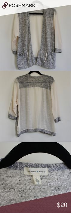 Silence + Noise Sheer and Cotton Sweater Urban Outfitters Silence + Noise open front cardigan that features sheer arms and back with a cotton sweater front. This sweater has only been worn one time and is in excellent like-new condition. Urban Outfitters Sweaters Cardigans