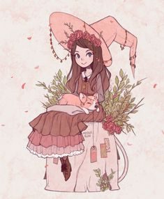 """missusruin: """" Witchsona commission for thelabyrinthlolita, from puppetgrenade pink/charms/herbal tea witch + corgi familiar """""""