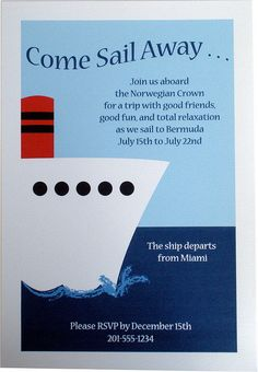 world cruise ship invitations | Party Invitation - Nautical Cruise Ship Boat | Flickr - Photo Sharing!