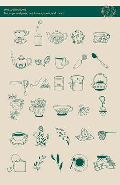 Tea House: Tea Related Illustrations by amber&ink on @creativemarket