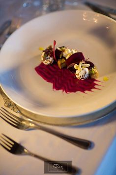 Textures of beet root and goats cheese chef Nico Verster