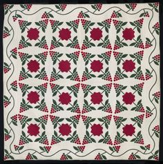 """Appliqué refers to a sewing technique in which a quilter cuts small pieces of fabric and shapes and stitches them onto a background cloth to create different designs. Appliqué makes it easier to create curved shapes, as opposed to pieced quilts, which """"piece"""" together squares and triangles. Bunches of Grapes American, Ohio, about 1875 Ohio, USA. On view in Quilts and Color. #quilt"""