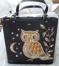 VINTAGE JEWELED OWL HANDBAG PURSEBAG IN STYLE OF ENID COLLINS DIY GENERAL CRAFTS Vintage Purses, Vintage Handbags, Black Handbags, Owl Clothes, Owl Purse, Owl Quilts, Owl Bags, Felt Owls, Owl Patterns