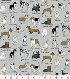 Snuggle Flannel Fabric 42''-Dog Breeds