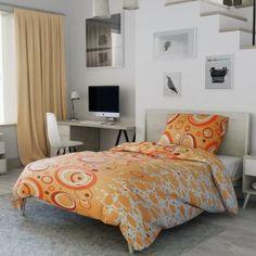 Flanelové povlečení oranžové kruhy puntíky kroužky Comforters, Blanket, Bed, Furniture, Home Decor, Creature Comforts, Quilts, Decoration Home, Stream Bed