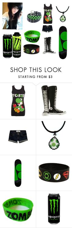 Yoshi!! by lyric-rain on Polyvore featuring Nintendo, Abercrombie & Fitch, Converse and Goodie Two Sleeves
