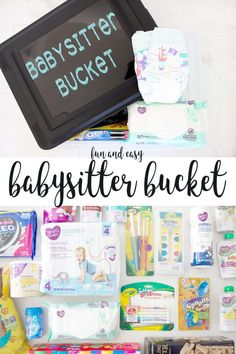 Babysitter Bucket with Babysitting Activities and Must Have Items