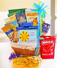 Sending Some Sunshine Gift Basket! - This gift basket includes delicious gourmet treats to brighten their day. Included is a keepsake tin filled with Halls triple soothing cough drops.