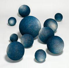 Hiroyuki Shindo, indigo dipped linen thread balls.