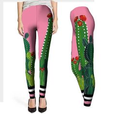 Tropical Lilies Flowers and Pomegranates Yoga Tights Short Running Pants Workout