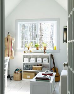 Simple Decor - Shaker Home Style - Country Living Small Craft Rooms, Craft Room Storage, Book Storage, My Sewing Room, White Rooms, Office Interiors, White Interiors, Kit Homes, Decoration