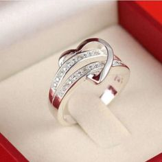 Women's Silver Plated Heart Design Ring