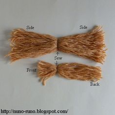 How to Make a Yarn Hair for a Doll , also doll body, also clothing patterns