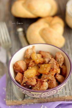 Porc cu ananas- retete culinare mancare, retete sunfood. Carne de porc cu ananas. Mancare exotica cu porc si ananas. Mancare dulce cu carne de porc.