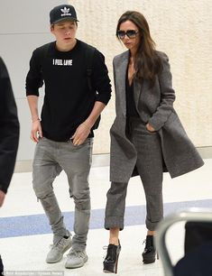 Victoria Beckham and son Brooklyn arrive in New York
