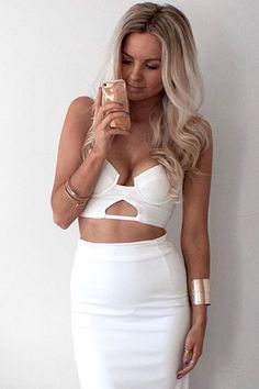 Honey Couture - White Bustier Bandage Bralette Top