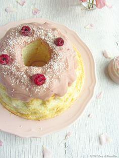 Angel food cake with raspberry ganache