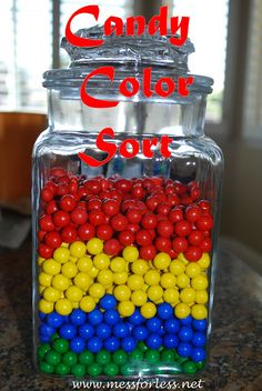 Mess For Less, color sort with candy Rainbow Parties, Rainbow Theme, Sorting Colors, Lollipop Candy, Educational Activities For Kids, Candy Shop, Candy Buffet, Candyland, Candy Colors