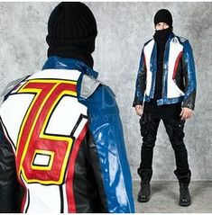 Outerwear - 76 back numbering accent unique leather jacket - 84 for only ! Blazers For Men Casual, Motorcycle Jacket, Your Style, Winter Jackets, Plus Size, Stylish, Unique, Men's Jacket, Leather Jackets
