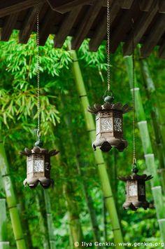 Copper Lanterns at Kyozo Sutra Archive at Kaikozan Hase-dera Temple, Japan