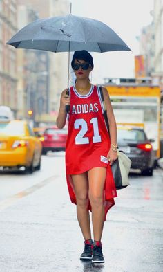 The only other person besides Beyoncé who can get away with a jersey and no pants? Rihanna. Obviously.