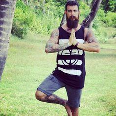 Dave Driskell - full thick dark beard and mustache beards bearded man men bearding tattoos tattooed fitness yoga handsome #beardsforever