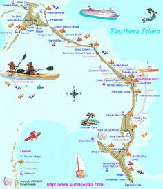 Eleuthera Tourist Map - eleuthera bahamas • mappery