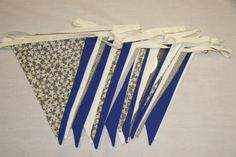 Royal Blue, Silver and White Wedding Bunting for hire, from per metre for a 4 day hire period, high quality fabric bunting made in Chester. Silver Anniversary, 10 Year Anniversary, Anniversary Parties, Wedding Bunting, Fabric Bunting, Blue Wedding, Blue And Silver, Colours, Chester