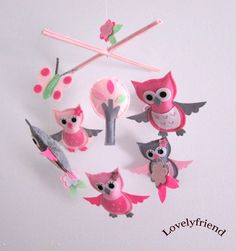 Baby Crib Mobile - Baby Mobile - Mobile - Crib mobiles - Felt Mobile - Nursery mobile - Light grey and Pink Owl (Custom Color Available)