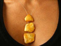 Pendant, Genuine Baltic Amber Necklace Pendant, Silver 925, butterscotch yellow, genuine amberstone New, UNIQUE von JewellerWithSoul auf Etsy