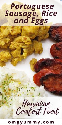Portuguese Sausage, Rice, and Scrambled Eggs with Soy Sauce is a Hawaiian favorite and a simple breakfast, lunch, or dinner your family will love. #sausage #portuguesesausage #eggs #scrambledeggs #kungjungeggs #hawaiianfood #rice #comfortfood #brunch Easy Egg Recipes, Egg Recipes For Breakfast, Dinner Recipes, Soy Sauce Eggs, Portuguese Sausage, Sausage Rice, Cold Meals, Scrambled Eggs, Rice Dishes