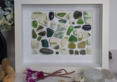 """Abstract in green"""", Irish sea glass and pottery collage. In different shades and sizes of green Irish sea glass and pottery Southern Ireland, Deep Box Frames, Artwork For Home, Irish Sea, Take You Home, Collage Frames, Frame Sizes, Shades Of Green, Sea Glass"""